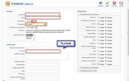 Ingresar Email donde Recibiras los Correos